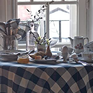 Cotton Plaid Round Tablecloth