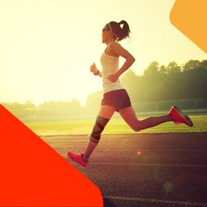 girl jogging uflex knee sleeve