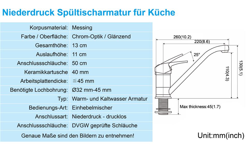 BONADE Niederdruck K/üchenarmatur Niederdruckarmatur mit 3 Anschl/üssen 360/° Schwenkbare Mischbatterie Einhebelmischer in Chrom-Optik f/ür Drucklose und Kleinspeicher geeignet