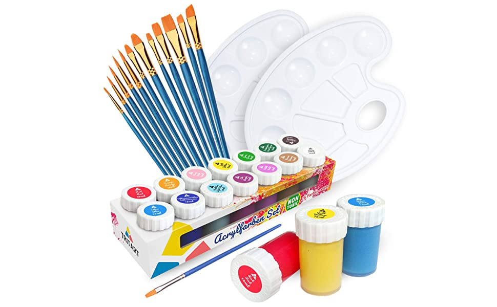 Set de pinturas acrílicas Tritart para niños y adultos con 12 pinceles y 2 paletas de mezcla I 14 colores acrílicos: Amazon.es: Hogar