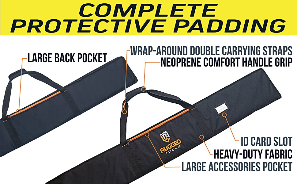 Rugged Tools carrying case bag with large front and back pockets for clamps and accessories