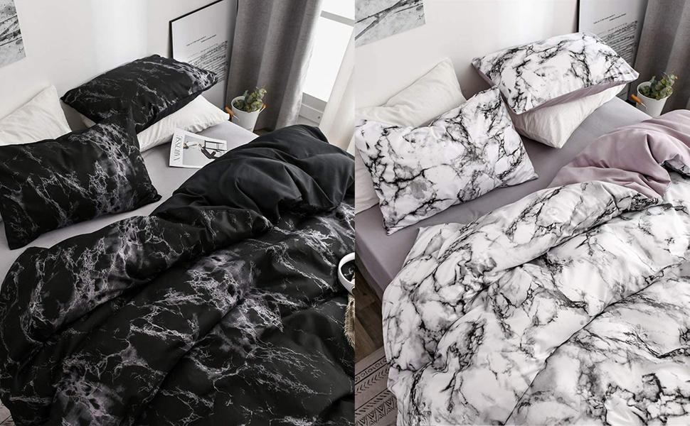 Marble Pattern Printed Duvet Cover