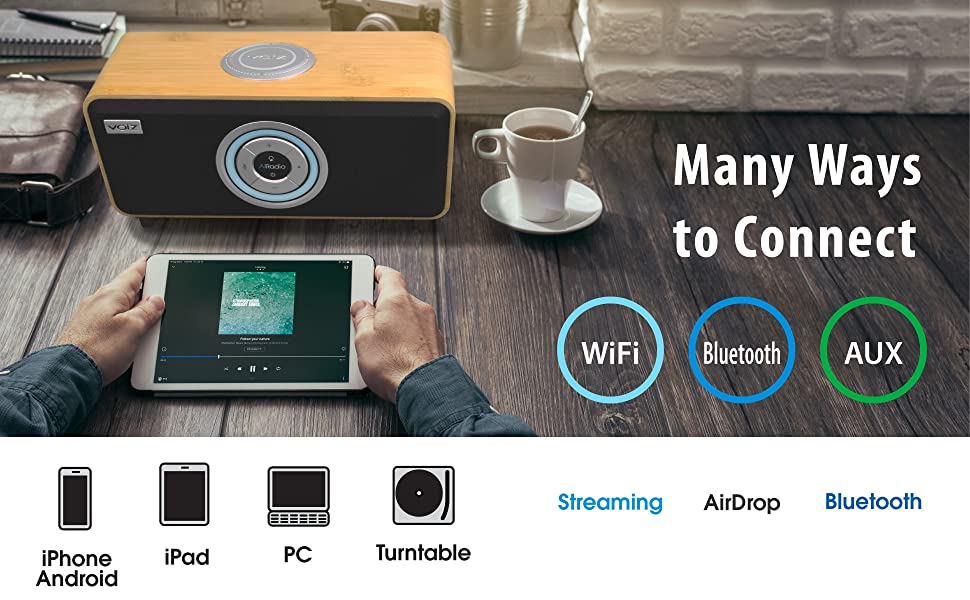 Multi-Connection WiFi Bluetooth Aux Streaming Airdrop Smartphones Mobile Device Turntable PC iPad
