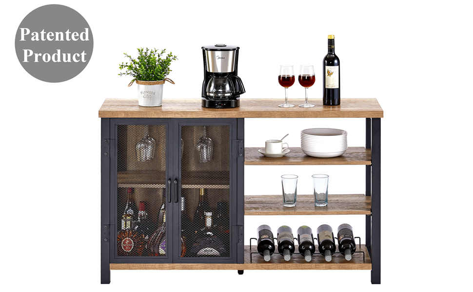 Wine bar cabinet rack