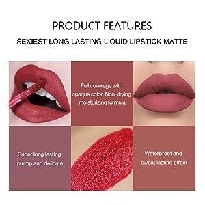 Waterproof for Women Velvet Lip Gloss Set Velvety Liquid Lipstick long wearing lipstick