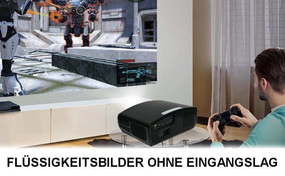 Beamer 1080p, Miniprojektor, Projektor 1080p native Auflösung, LED-Projektor 2000 Lumen