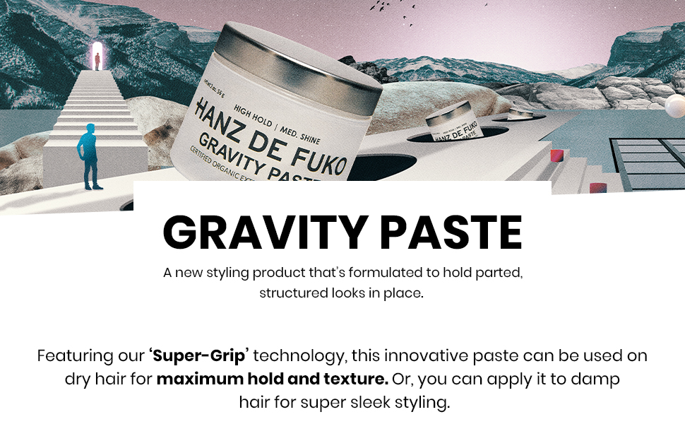 Gravity Paste, maximum hold and texture for dry or damp hair. Styling product, for men and women,