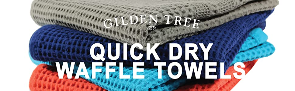 gilden tree quick dry waffle towels exfoliation colors