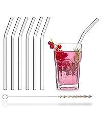 HALM Glasstrohhalme 4x 20cm gebogen Glastrinkhalme Cocktail Strohhalm Glas Saft