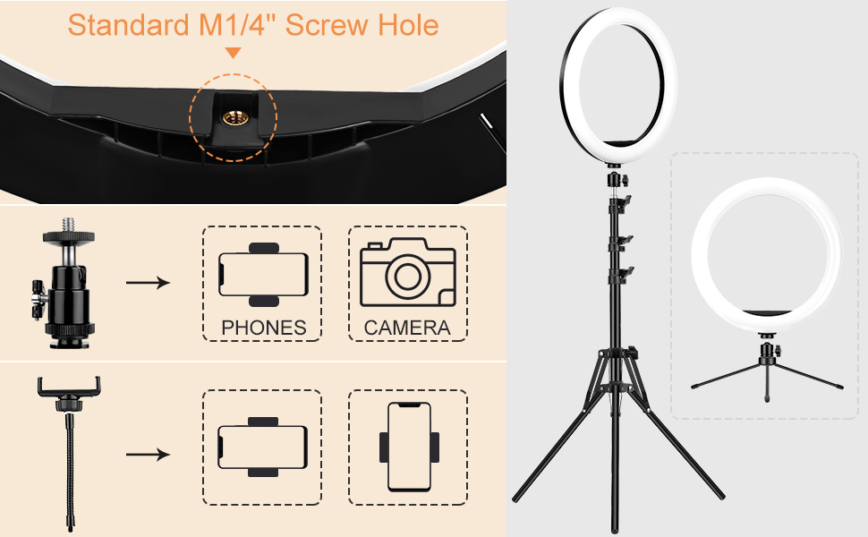 ring light with tripod stand and phone holder for phone and camera