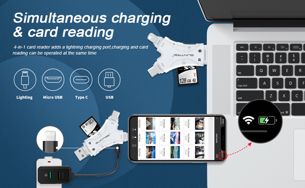 sd card reader for iPhone  SD Card Reader for iPhone/ipad/Android/Mac/Computer/Camera,4 in1 Micro SD Card Reader Trail Camera Viewer, Portable Memory Card Reader SD Card Adapter Compatible with SD and TF Cards(White) 029e5ba0 e60a 4f96 9d71 7cfdcc3013ba