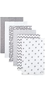 Grey Burp Cloths