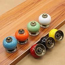 Ceramic Knobs Glossy Round Dresser Vintage Cabinet Pulls Cupboard Wardrobe Drawer Door Handles