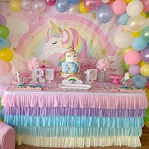 unicorn tutu table skirt for unicorn theme birthday party