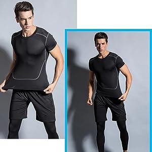 Chándal para hombre Estirable Adelgazamiento Deporte Forma de cuerpo Compresión Entrenamiento físico