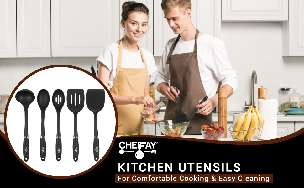 Kitchen utensils couples cooking