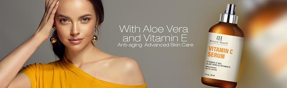 Botanic hearth vitamin c serum 20% vitamin E organic pure potent effective dark spots wrinkles lines