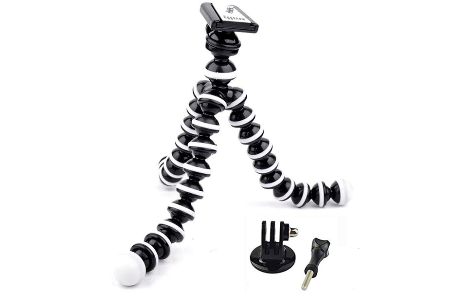 BLISS Octopus Portable Flexible Tripod Stand Holder for iPhone DSLR Camera Cell Phone Bendy Adjustable Mini Webcam Mount for YouTube Video Black White M-Size