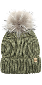 MIRMARU Women's Winter Solid Ribbed Knitted Beanie Hat with Faux Fur Pom Pom