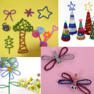 acrylic and tinsel pom poms tinsel stems in silver /& gold red and white Christmas Craft Pack: Chenille pipe cleaners -green wiggle eyes