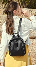 Women's Soft Leather Backpack Casual Fashion Daypack Multipurpose Bag