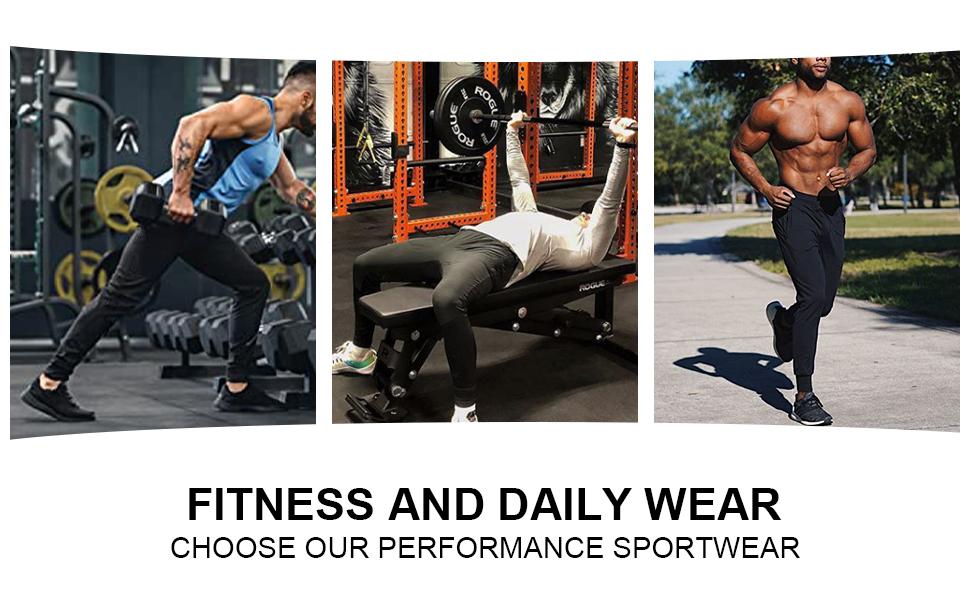 BROKIG Mens Jogger Sport Pants, Casual Zipper Gym Workout Sweatpants Pockets