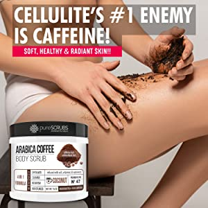 pureSCRUBS Arabica Coffee Body Scrub [COCONUT BLEND] for cellulite, stretch marks, dimpled skin