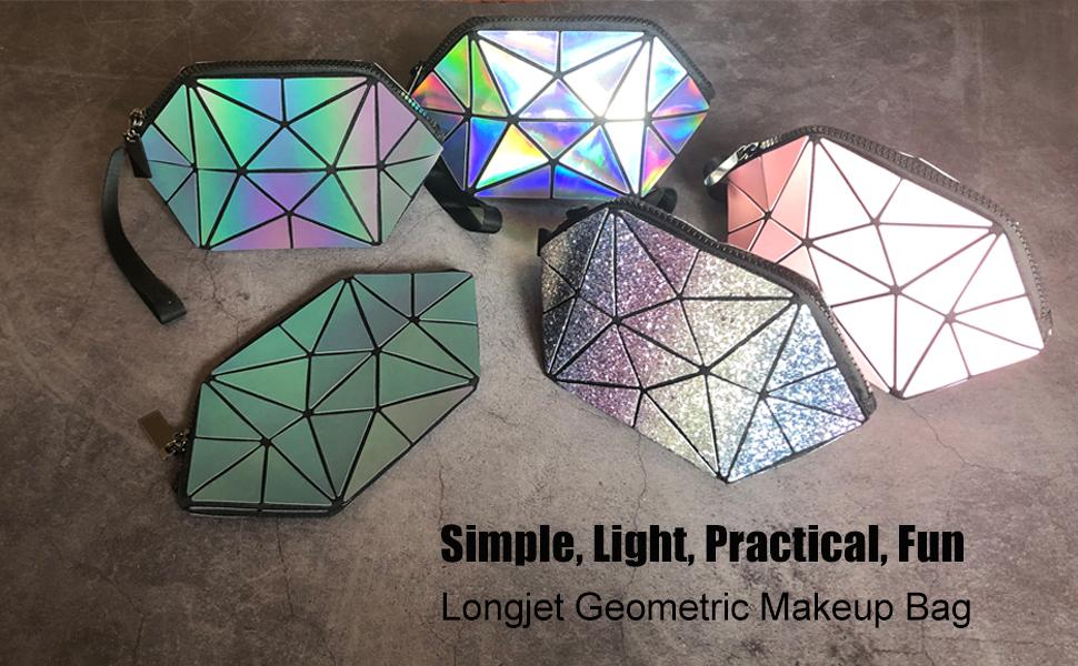 Longjet geometric purse foldable cosmetic bag