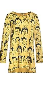 lavielente yellow face hi-lo top tunic top