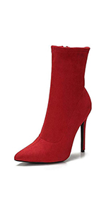 Heels Ankle Boots Pointed Toe Mid Calf Boots Comfortable Stiletto Side Zip High Heel Short Booties
