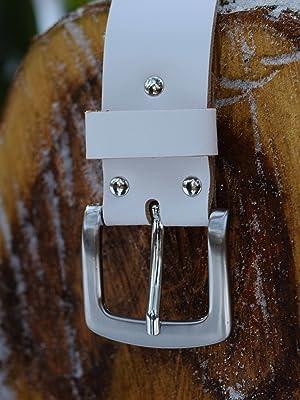 GREEN YARD G/ürtel wei/ß Herren und Damen wei/ßer Lederg/ürtel aus echtem Leder 4 cm breit # 428