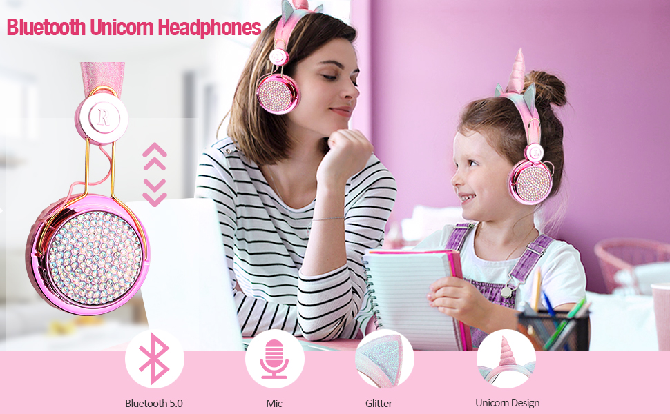 Kids Headphones Wireless Unicorn Gifts for Girls Bluetooth Microphone Headset distant learning Pink