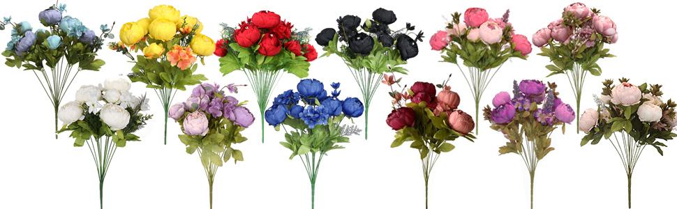 artificila white peonies black peony red wedding flowers pink purple faux flower yellow silk flower