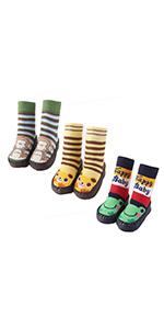 Baby Anti-slip Socks Toddlers Stripes Cartoon Thick Socks Indoor Slippers
