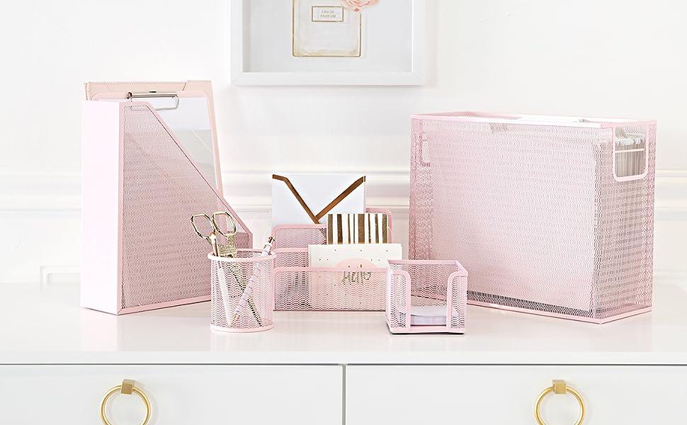 Pink Desk Organizer