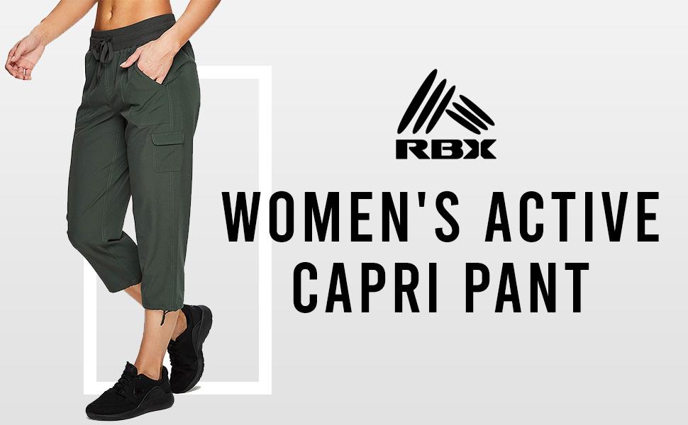Amazon Com Rbx Active Pantalon Capri Con Cordon Para Mujer Ligero Con Bolsillos Clothing