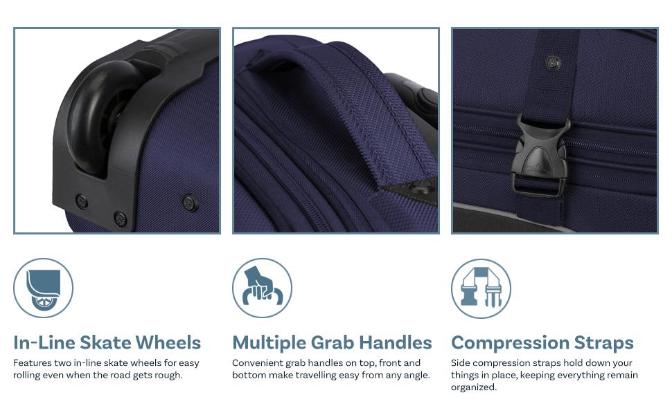 oversea plane pocket premium roll side soft strap suit train traveler traveling vacation wheel women