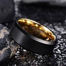 gold tungsten wedding bands