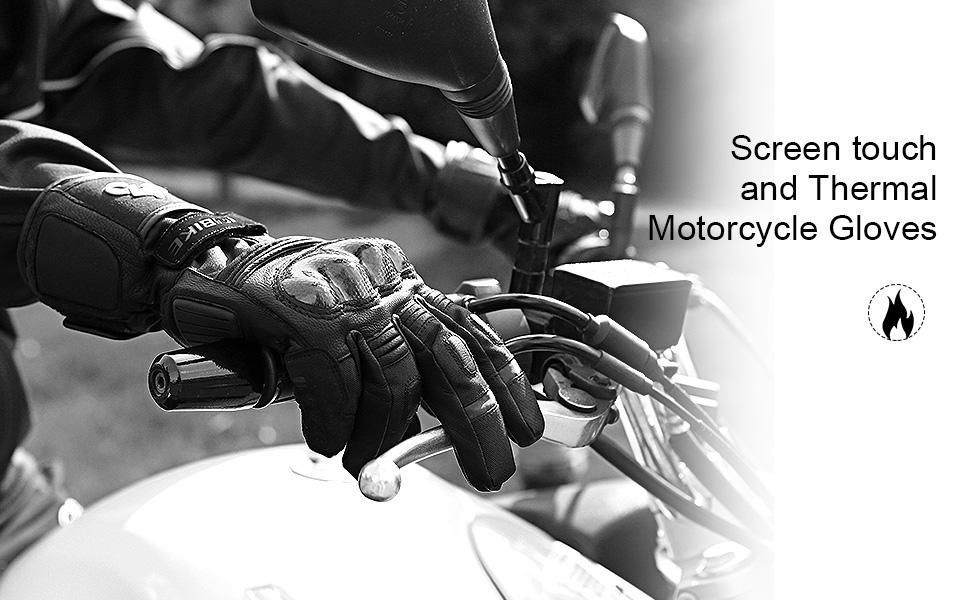 IM866 INBIKE Guanti da Moto Pelle di Capra Invernali con 3M Thinsulate Protettivo Impermeabile Resistente Touch-screen per Motorino Auto