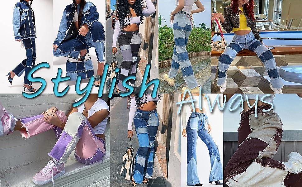 patch jeans patchwork denim pants full lengjth
