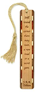 Laser engraved J.R.R. Tolkien quote on high quality wood bookmark