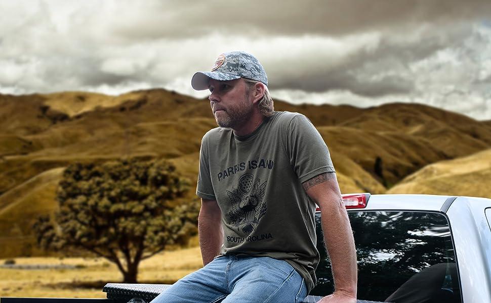 Desert storm hat parris island t-shirt on man in truck military store apparel veteran vetfriends