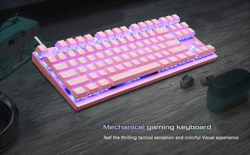 1  MOTOSPEED Professional Gaming Mechanical Keyboard RGB Rainbow Backlit 87 Keys Illuminated Computer USB Gaming Keyboard for Mac & PC Pink 031218b3 619a 4c9a aba8 8d1e71d44ac5