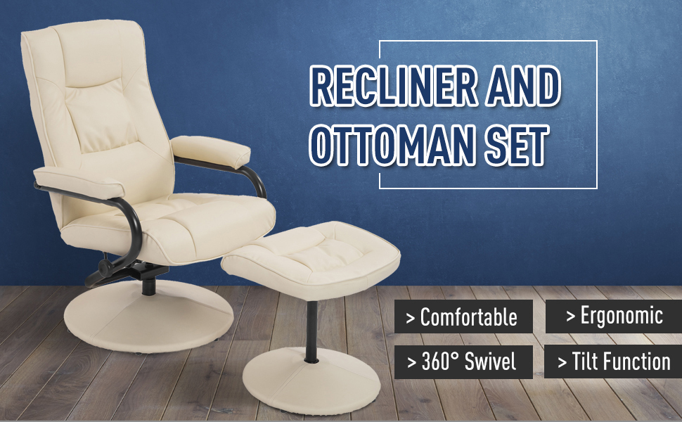 Terrific Homcom Ergonomic Faux Leather Lounge Armchair Recliner And Ottoman Set Cream White Ibusinesslaw Wood Chair Design Ideas Ibusinesslaworg