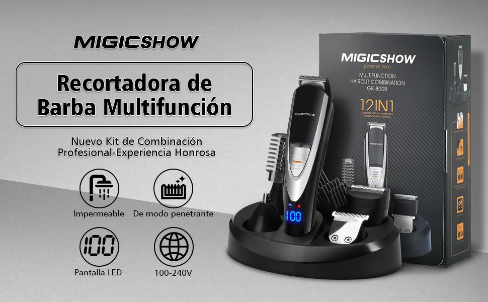 MIGICSHOW Cortapelos Recortadora de Barba Impermeable Electrico ...