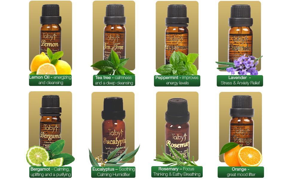 essential oils diffuser set kit aromatherapy aroma organic lavender lemon eucalyptus bergamot orange