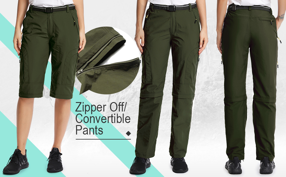 Zip off Convertible pants for Women gardening pants women women's work cargo pants stretch camo