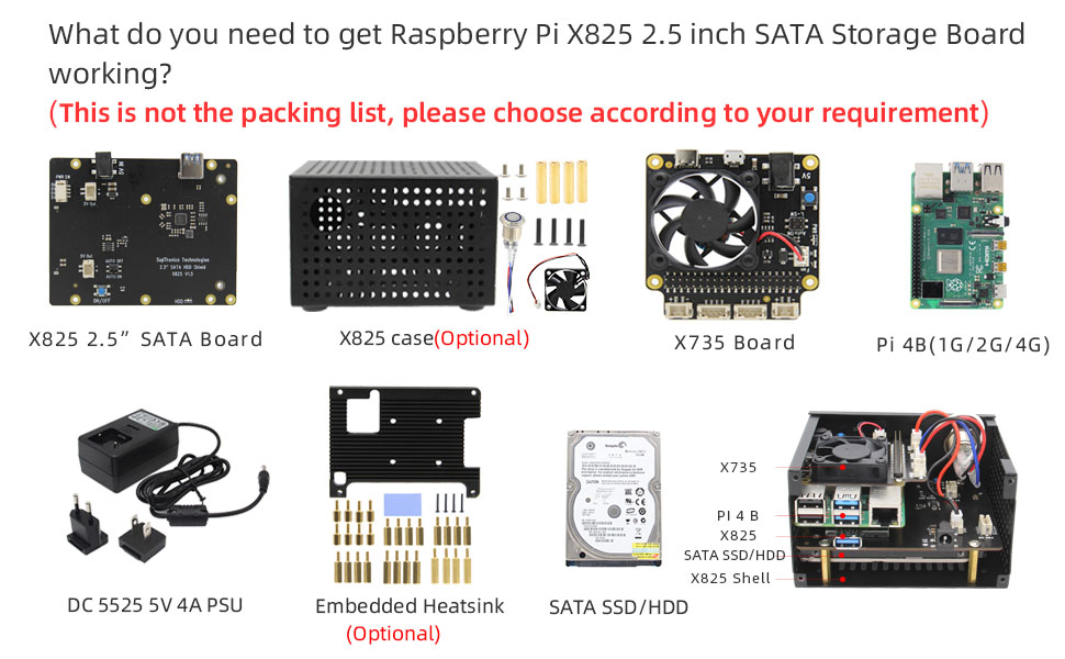 Geekworm X828 Metal Case with Power Switch/&Cooling Fan Compatible with Raspberry Pi 4 2 Pcs X828 2.5 SATA Storage Board X735 Power Management Board Not Support X825//X829