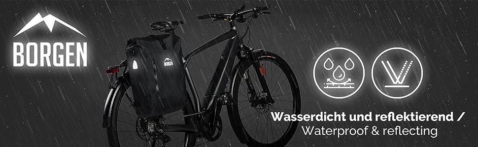 100/% wasserdicht und reflektierend mit herausnehmbarer Laptoptasche Kombi Fahrrad Tasche Borgen Fahrradtasche f/ür Gep/äcktr/äger 3in1 Fahrrad Rucksack I Gep/äcktr/ägertasche I Umh/ängetasche
