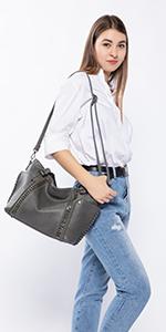 Handtasche Damen Taschen Kunstleder Schultertasche Henkeltasche Tote Tasche Groß mit Nieten Grau